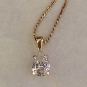 Vintage 2 carat pear cut necklace